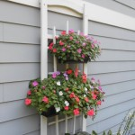 Planter hanging from trellis